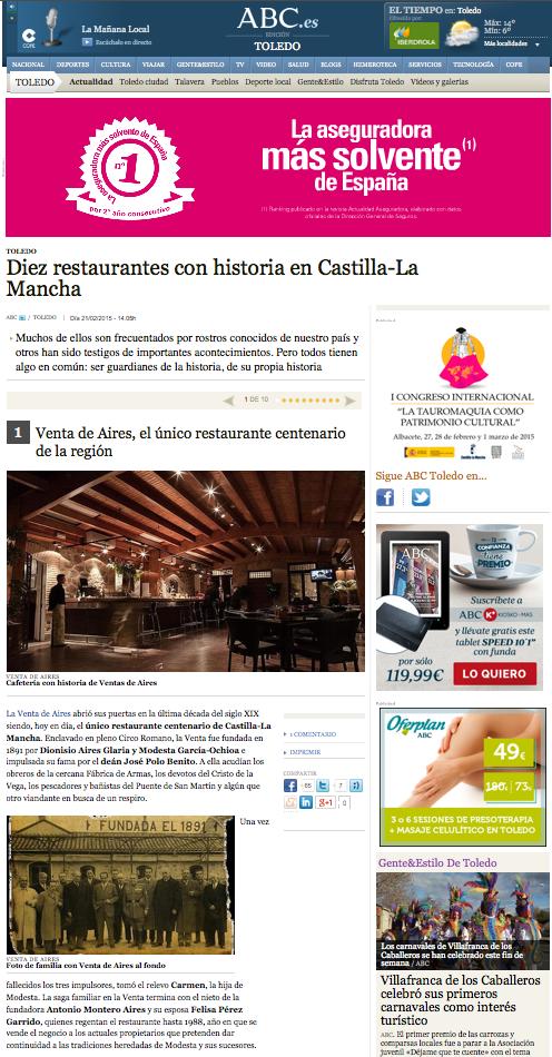 Venta de Aires entre los diez restaurantes con historia en Castilla-La Mancha