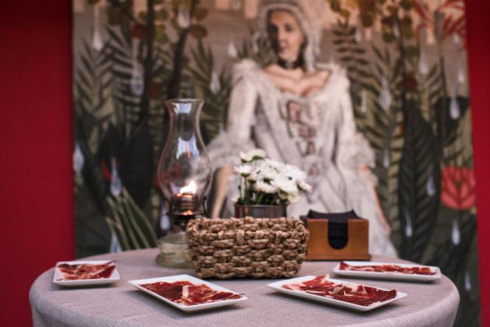 Detalle del catering de bienvenida en el Jardín Botánico