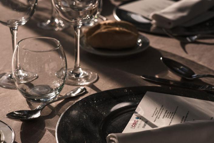 Minuta en la mesa del catering del Jardín Botánico